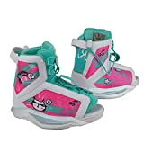 Ronix Kid's Wakeboard Bindings August Girl's Boot - White/Turquoise/Pink - 2-6 (2019)