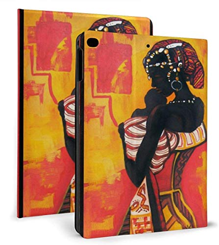 Art Toucan Cockatoo Parrot Flamingo PU Leather Smart Case Auto Sleep/Wake Feature for iPad Air 1/2 9.7' Case-African American Woman-iPad air1/2 9.7'