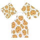 Conjunto de 3 peças de avental de cozinha com isolamento térmico, luvas para micro-ondas com suporte de panela, batatas fritas de chocolate, biscoitos, luvas de forno para grelhar e assar