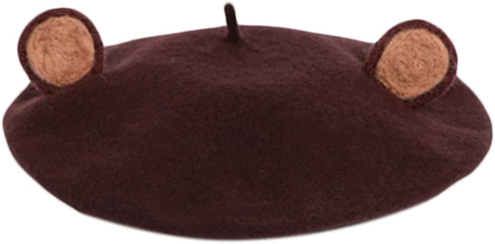 Y-QUARTER Japanese Style Women Winter Autumn Faux Wool Beret Hat,Cute 3D Brown Bear Ears Animal Vintage French Artist Painter Beanies Pumpkin Cap Cold Weather for Women Gifts