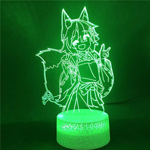MBFT Inuyasha - Lámpara de noche LED con base brillante de anime japonés, 7 colores, regalo para cumpleaños, Holiday, 3D