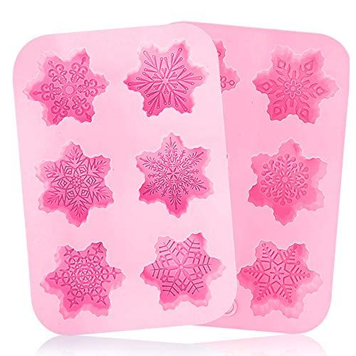 Silicona Copo de nieve moldes BESTZY 2PCS moldes de silicona para Navidad...