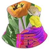 Bufanda para el Cuello Patrón de Color Acuarela Transparente con Tulipanes Polaina para el Cuello Abrigo para la Cabeza más cálido en Invierno