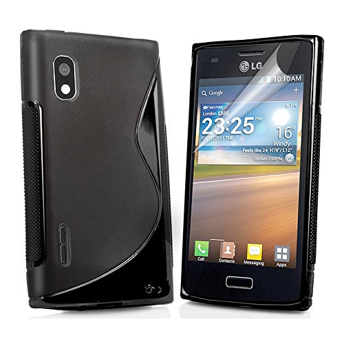 ebestStar - Cover Compatibile con LG Optimus L5 E610 Custodia Protezione S-Line Design Silicone Gel TPU Morbida e Sottile, Nero [Apparecchio: 118.3 x 66.5 x 9.5mm, 4.0'']