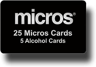 25 Black Micros Server Swipe Cards + 5 Pre-Saturated 100% Alcohol Credit Card Swipe Reader Cleaning Cards