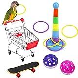 N/0 Giocattoli per Uccelli Set, Pappagallo Mini Carrello della Spesa Skateboard Anello di Allenamento Campana, Giocattoli pappagalli, pappagalli Giocattoli per addestramento Accessori