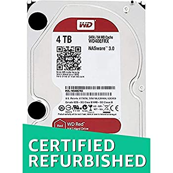 WD Red 4TB NAS Hard Disk Drive - 5400 RPM Class SATA 6 Gb/s 64MB Cache 3.5 Inch - WD40EFRX  Renewed