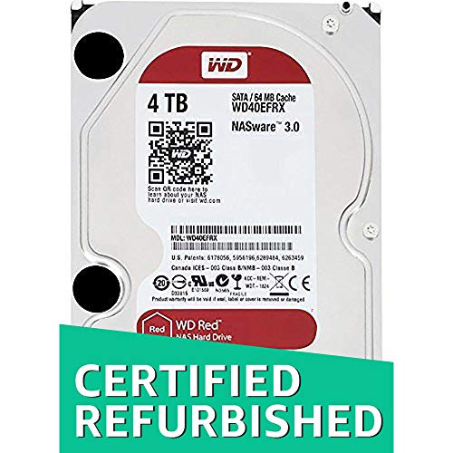 WD Red 4TB NAS Hard Disk Drive - 5400 RPM Class SATA 6 Gb/s 64MB Cache 3.5 Inch - WD40EFRX (Renewed)