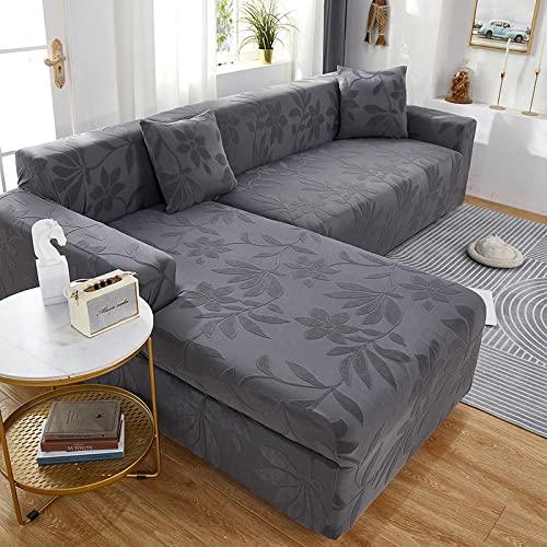 Funda Antideslizante para sofá Lavable y elástico 2 plazas y 3 plazas, Fundas de sofá Jacquard para Sala de Estar, Fundas elásticas Protectoras de sofá para Esquina Gris Claro