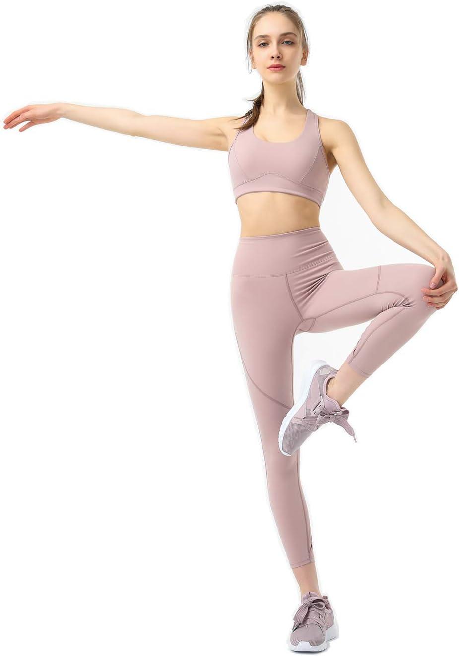 Eagool Completi da Allenamento da Donna Completi da 2 Pezzi Leggings da Yoga a Vita Alta e Reggiseno Sportivo Abbigliamento da Palestra