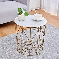 Geometric design meets modernity in our KORAM range side tables. This faux marble round top living room table would go perfectly with a contemporary design scheme. The top features beautiful faux marble veneer and opens to golden metal wired basket s...