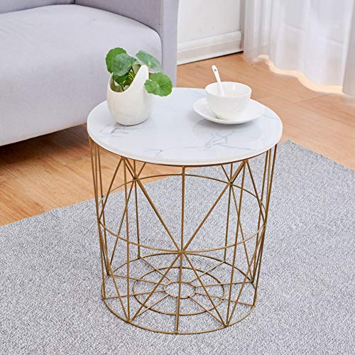 Cherry Tree Furniture KORAM Marble Effect Top Basket Side Table Golden Geometric Wire Frame End Table