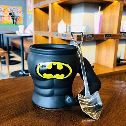 Creativo Desayuno de Avena Liga héroe Taza Taza Personalidad de cerámica con la Cuchara de la Taza de Gran Capacidad Superman-Batman Taza + Ingeniero de Cuchara de la Pala,Negro
