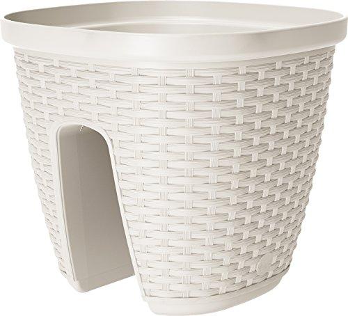 Emsa 515012 Geländertopf für den Balkon, 9 Liter, Selbstbewässerungssystem, Weiß, Casa Mesh