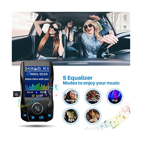 "VicTsing 1.8"" Color Display Bluetooth FM Transmitter for Car, Wireless Bluetooth Car Adapter with EQ Mode, Power Off, 3 USB Ports, 4 Music Playing, Hands-Free Calls, AUX Input 5"