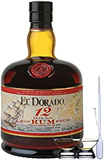 El Dorado Demerara Rum 12 Jahre Guyana 0,7 Liter  2 Glencairn Gläser und Einwegpipette