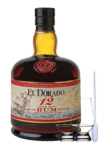 El Dorado Demerara Rum 12 Jahre Guyana 0,7 Liter + 2 Glencairn Gläser und Einwegpipette