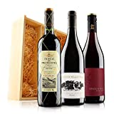 Classic Red Wine Trio in Wooden Gift Box - 3 Bottles (