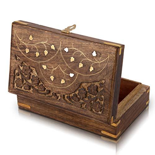 Joyero de madera hecho a mano con cerradura y llave gratis,