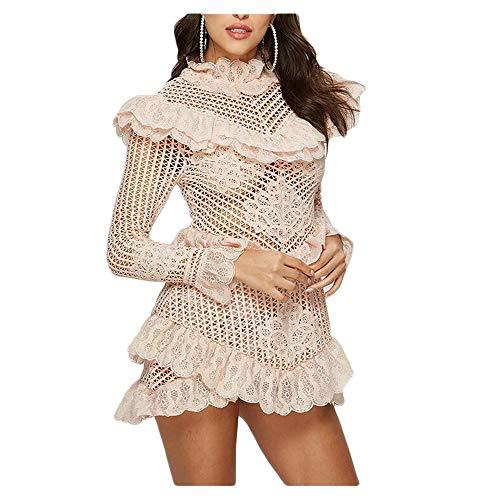 Bademode Langarm Kleiner Stehkragen Sexy Spitze-Ausschnitt dünnes Kleid Damen Bikinis (Color : Apricot, Size : S)