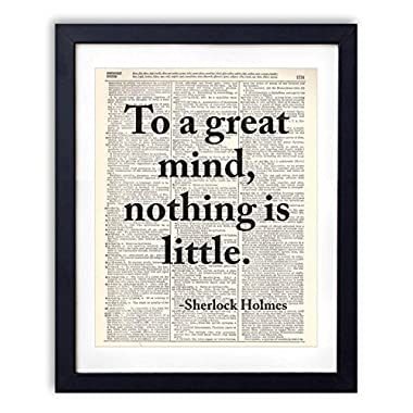 Sherlock Holmes Typography Quote Upcycled Vintage Dictionary Art Print 8x10