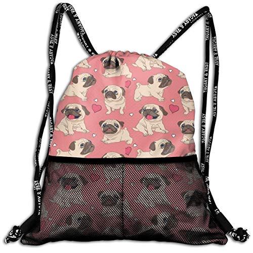 Lmtt Sac à Cordon-Valentine 's Day Heart Pug Dog Fashion Lightweight Sackpack Casual Bundle Backpack for Sports, Travel, Gym, Training, Yoga