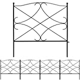Amagabeli Galvanized Garden Fence 24inx10ft Outdoor Rustproof Metal Landscape Wire Fencing Folding Wire Patio Fences Flower Bed Animal Dogs Barrier Border Edge Section Edging Decor Picket Black FC05