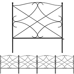 """SIZE & RUSTPROOF MATERIAL: Decorative metal garden fence with single panel size 24"""" high x 24"""" wide, 5 Panels in total. This metal fence panels for front yard is made of black Iron with vinyl pvc powder coated surface will enable you to use the garde..."""