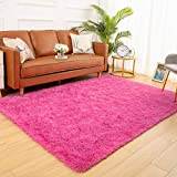 YJ.GWL Soft Fluffy Area Rugs for Bedroom Shaggy Living Room Rugs Nursery Girls Carpets Kids Home Decor Rugs 5.3 x 7.6 Feet Hot-Pink