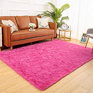 YJ.GWL Soft Shaggy Area Rugs for Bedroom Fluffy Living Room Rugs Anti-Skid Nursery Girls Carpets Kids Home Decor Rugs 4 x 5.3 Feet Hot-Pink