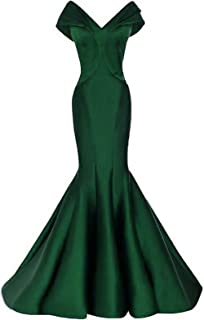 Womens Off The Shoulder Tiered Mermaid Prom Dresses Long 2019 Satin Formal Evening Ball Gowns