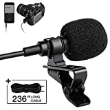 SmilePowo Lavalier Lapel Recording Microphone Omnidirectional Lav Mic for Podcast, YouTube, Interview, Vlog, Video, Meeting, Singing with 236' Cable for Phone, Camera, Camcorder, Computer, Laptop