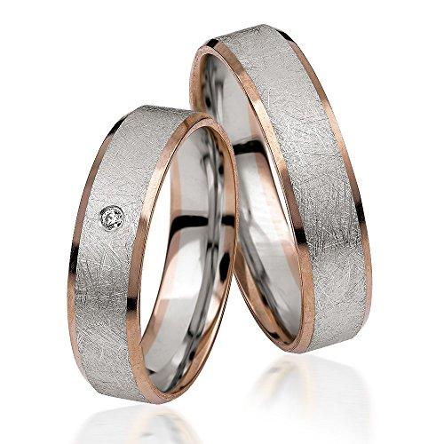 2 x trouwringen, partnerringen, trouwringen, verlovingsringen, vriendschapsringen in 585 goud *met gravure en 1 steen*