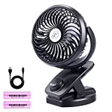 Clip On Stroller Fan,5000mAh Battery/USB Powered Desk Fan,Portable Personal Fan,Auto Oscillation,3 Speeds,Sturdy Clamp with 360° Rotation for Stroller, Golf Cart Treadmill,Office,Car,Gym,Camping