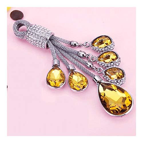 ZNZN Llavero El Llavero es Firme y no es fácil de reemplazar, la Artificial cristalina del Diamante Llavero Anillo, joyería de Coches Colgante Regalo for Las Chicas Llavero (Color : Gold)