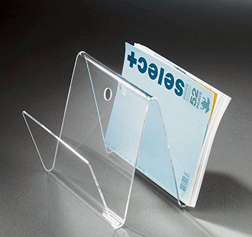 HOWE-Deko Hochwertige Acryl-Glas Zeitungstasche, Zeitungsständer, klar, 30 x 30 cm, H 26 cm, Acryl-Glas-Stärke 4 mm