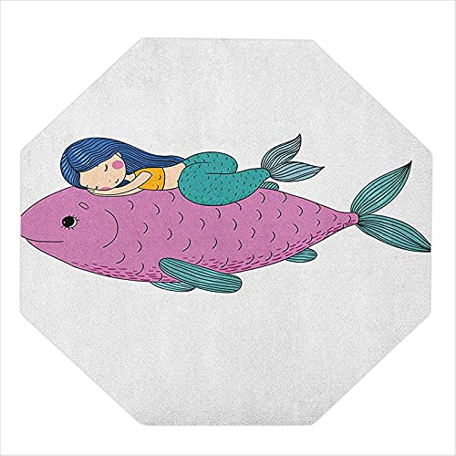 """35"""" Octagon Computer Chair mat, Baby Mermaid Sleeping on Top Giant Fish Happy Best Friends Kids Nursery Theme, Chair mats for Carpeted Floors, Purple Teal"""