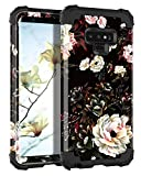 Lontect Compatible Galaxy Note 9 Case Floral 3 in 1 Heavy Duty Hybrid Sturdy High Impact Shockproof Protective Cover Case for Samsung Galaxy Note 9 - Flower/Black