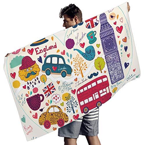 Perstonnoli Toalla de playa London de microfibra, secado rápido, toalla de playa, toalla de baño, manta de pícnic, esterilla de yoga, esterilla de playa, rectangular, color blanco, 150 x 75 cm