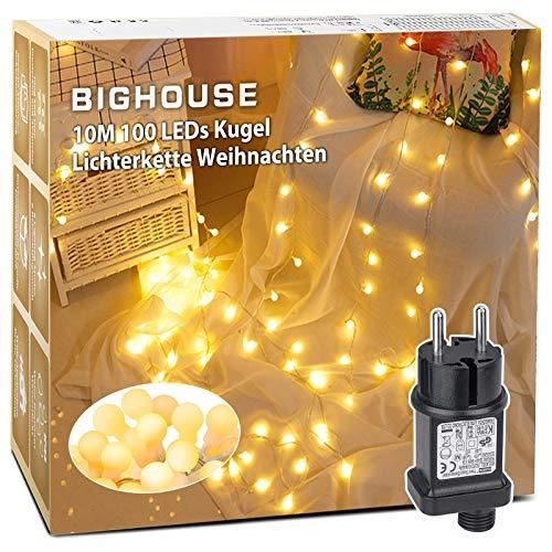 Lichterkette Weihnachten, BIGHOUSE 10M 100 LED Kugel Lichterkette Warmweiß mit Stecker, 8 Modi und Merk Funktion, Wasserdichte IP44 für Weihnachtsbaum, Party, Hochzeit, Innen/Außen Dekoration