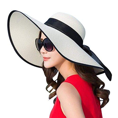 DRESHOW Sombrero de playa Floppy para mujer Sombrero de paja de ala ancha Sun Roll Roll Upable UPF 50+