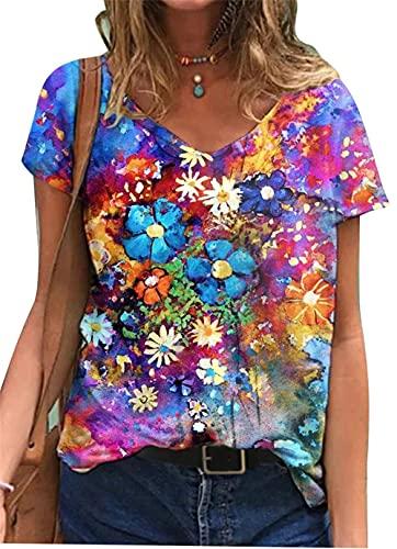 Ropa de mujer Tops Moda de verano Flores para mujer Impreso Camiseta de manga corta con cuello redondo informal Camisa túnica Jersey con cuello en V Suelto delgado casual Tallas grandes Blusa Sudadera