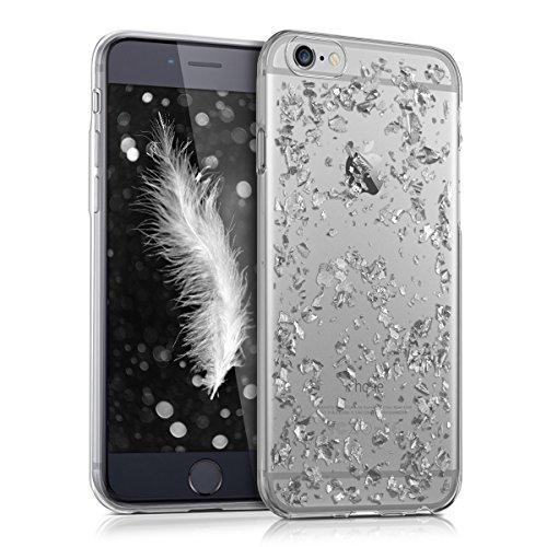 kwmobile Hülle kompatibel mit Apple iPhone 6 / 6S - Handyhülle - Handy Hülle Flocken Silber Transparent