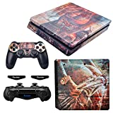 eXtremeRate Hot Girl Print Decals Stickers Full Set Faceplate Skins +2 Led Lightbar for Playstaiton4 Slim/PS4 Slim Console & 2 Controller