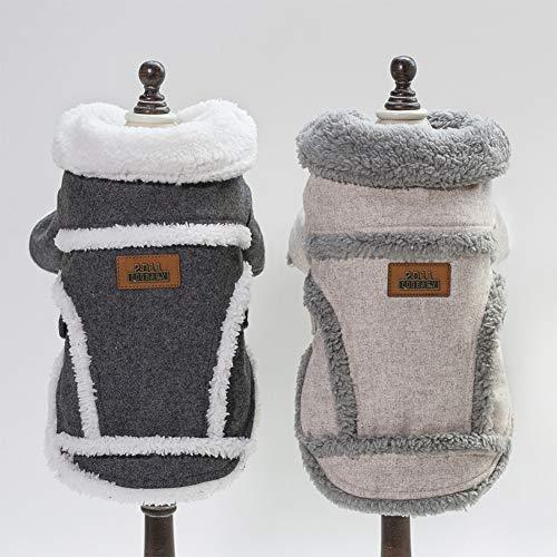 DishyKooker Warmes Haustier-Sweatshirt für Hunde, Mantel mit Knopf, für Teddy, Zwergspitz, Dunkelgrau, Größe M