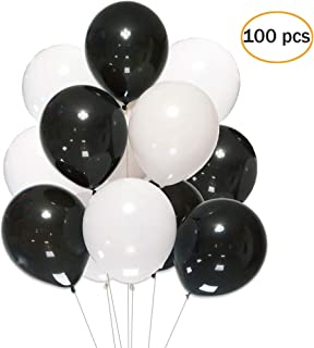 """12 Inch White Black Balloons,100 pcs 12""""Latex Balloons for Party Decoration Birthday Wedding Photo Shoot Event Graduation Party Christmas Baby Party 2.8 g/pc"""