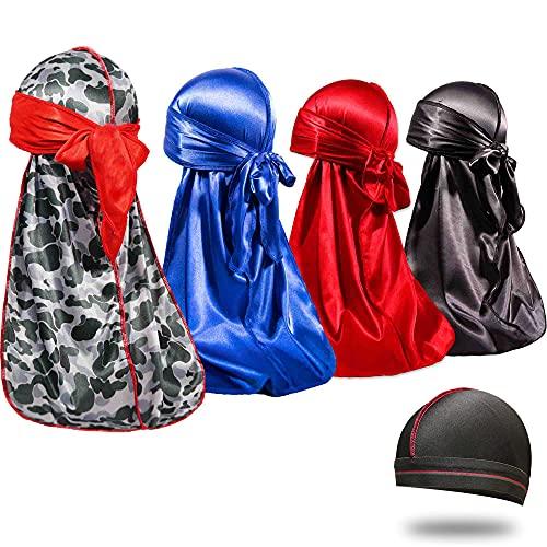 Aldado 4Pcs Silky Durags and 1 Wave Cap for Men, Designer Du Rag for 360 Waves