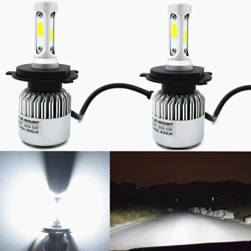 Alla Lighting 8000lm P43t Base H4 9003 LED Bulbs Replacement, Xtremely Super Bright 6500K Xenon White Dual High/low Beam