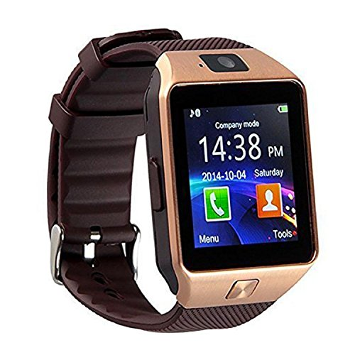 SEPVER GT08 Bluetooth Smart Watch met TF-geheugenkaart en simkaartsleuf stappenteller compatibel voor Android smartphones en iPhone, DZ09 Gold