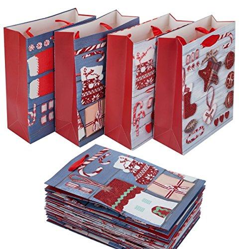 QILICZ 12PCS borse con manici sacchetti di caramelle sacchetti regalo sacchetti di carta sacchetti di carta per feste di Natale Series